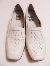 """BONNE FORME Women's Comfort Loafer Style Shoes Sz 9.5 White Leather 1 3/4"""" Heel"""