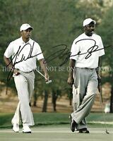 MICHAEL JORDAN AND TIGER WOODS SIGNED AUTOGRAPH 8x10 RPT PHOTO NBA PGA GREATEST