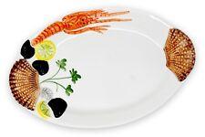 Relief Keramik Teller Meeresfrüchte ovale Hummerplatte Servierteller ca.32x20cm
