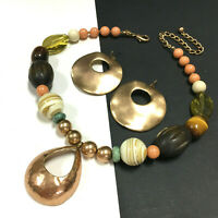 CHICO'S Wood Necklace Earring SET Pendant Peach Yellow Hammered Gold Tone SS94K