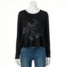 NWOT LC Lauren Conrad Embroidered Peplum Sweater size Small S
