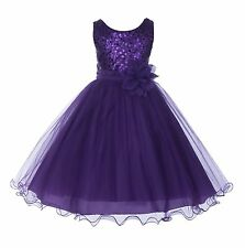 Wedding Glitter Sequin Tulle Flower girl Dress Toddler Bridesmaid Easter B-011NF