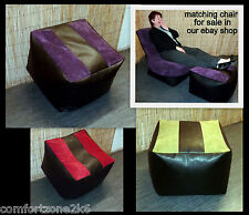 ZIPPY LARGE FAUX LEATHER & CHENILLE BEANBAG CUBE FOOTSTOOL BEAN BAG foot stool