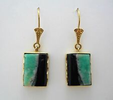 Colombian Emerald Earrings 14.00 Cts 18K Yellow Gold Muzo Polished Emeralds