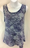 Coldwater Creek Floral Blue Gray Sleeveless Sheer Back Blouse Women's M 10-12