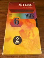 TDK Blank 2 Pack T-120 RV VHS VCR Video Tape Sealed New For Recording