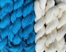 100% wool yarn fingering weight, 6 skeins, white and blue, 1320 yards