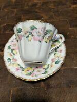 Vintage Royal Stafford Syringa Bone China Tea Cup & Saucer Set pink yellow
