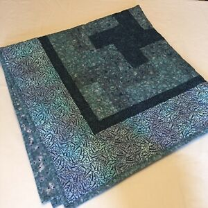 "Blue Windmill Patchwork Quilted Table Topper 40"" x 40"""