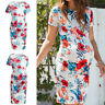 Women Mom Maternity Pregnant Summer Casual Party Floral Short Sleeve Short Dress
