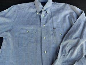 Faconnable Mens Button Front Long Sleeve Cotton Plaid Logo Shirt Medium M