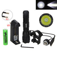 6000LM XM-L T6 LED Tactical Flashlight Hunting Light Torch Remote Switch + Mount
