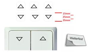 6 Stück Schalteraufkleber Rollo Pfeile auf ab Schalter Aufkleber Symbol (R25/14)