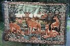 """Large Vintage Wall Hanging Rug Tapestry Buck Doe Fawn Deer 43""""x72"""" Cabin Decor"""