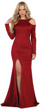 NEW RED CARPET LONG SLEEVE EVENING GOWN THIGH HIGH SIMPLE SPECIAL OCCASION DRESS