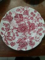 """Johnson Brothers Vintage Pink/Red English Chippendale 10"""" Dinner Plate:Rare"""