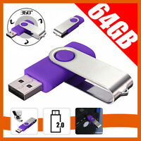 64GB Swivel USB 2.0 Flash Memory Stick Pen Drive Storage Thumb U Disk Purple
