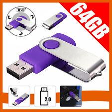64GB Swivel USB 2.0 Flash Memory Stick Pen Drive Storage Thumb U Disk Purple