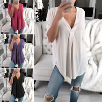 Women's Summer Loose T Shirt Short Sleeve V-Neck Blouse Tops Tunic Tee Plus Size