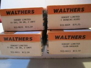 Walthers Vintage Set of 4 Southern Pacific Sunset Ltd Factory Paint Deluxe Kits