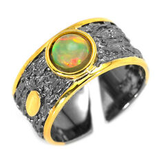 EARTH MINED 6MM MULTI FIRE OPAL HANDMADE 2-TONE STERLING SILVER 925 RING SIZE 8