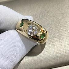 1.14 Ct Near White Moissanite Man Wedding Ring 925 Sterling Silver Yellow Finish