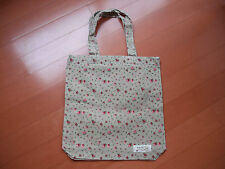 """Jute flax cotton small tote shopping bag khaki/ pink floral size 12""""x13"""" new"""