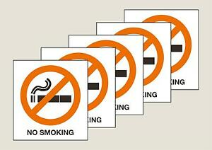 5 No Smoking window stickers double sided view from both sides  Free P&