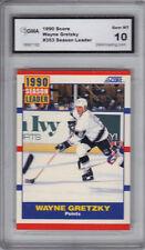 1990 SCORE WAYNE GRETZKY SEASON LEADERS POINTS CARD GMA GRADED 10