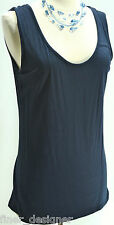 ELLEN TRACY VTG. NAVY Tank cami Knit Scoop Neck Top Shirt blouse Rayon SIZE M MD