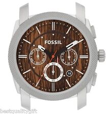 NEW-FOSSIL MACHINE SILVER TONE+BROWN WOOD GRAIN CHRONO DIAL ONLY WATCH C241000