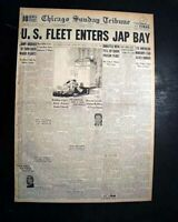 OCCUPATION OF JAPAN Begins USS Missouri Battleship SAGAMI BAY1945 WWII Newspaper