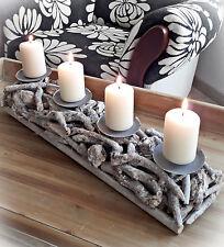 ❀ Kerzenhalter Lang Äste Grau 48cm Kerzentablett Adventskranz Holz Leuchter #399