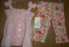 B.T. Kids Girls Size 2T Pink Gingham Flowered 2 Piece Top Pants New With Tags