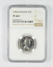 PL66+ 1954 Canada 25 Cents - Graded NGC *080