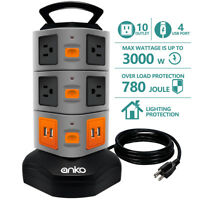 Power Strip Tower, ANKO 3000W 13A Surge Protector Electric Charging Station