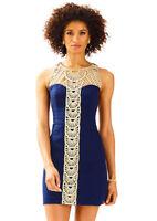 Lilly Pulitzer NWT Tana Shift Dress True Navy w/ Gold Soutache Size 6 MSRP $228