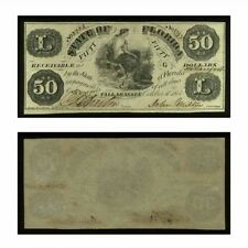 State of Florida Obsolete Banknote $50 1861 Criswell 3 Crisp Uncirculated