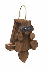 Rustic Raccoon Bird Feeder Amish Handcrafted Made in Usa !