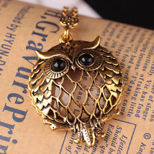 Fashion Grandma Magnifying Glass Owl Long Chain Pendant Necklace Vintage