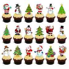 36 Stand up Premium Christmas Santa Snowman Mix Edible Rice Card Cake Toppers D2