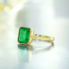 Yellow Gold Women's Wedding Bridal Ring Vintage Natural Emerald Jewelry Gem Gift