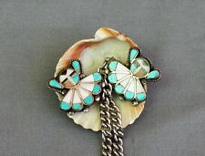 Old Vintage Zuni Inlay Silver Turquoise Coral MOP Jet Sunface Sweater Clips