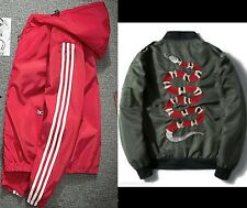 Women Bomber Jacket Hoody Coat Warm Sports Down Outwear Parka 3 Stripe Windbrake