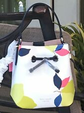 KATE SPADE EVA LEMON ZEST SMALL BUCKET SHOULDER TOTE BAG WHITE BLUE YELLOW $329