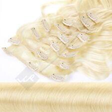 Clip In Extensions Set 55 cm Gewellt in Farbe #613 hellblond Haarverlängerungset