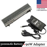 Battery For Dell Latitude E6400 E6410 E6500 E6510 PT434 Laptop +90W Adapter