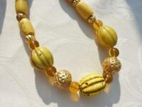 Chinese Necklace, Antique Yellow Lobed Glass Beads with 22K gold over wax beads