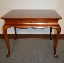Queen Anne Style Solid Mahogany Side Table W/ Banded Inlaid Top U0026 Pull Out