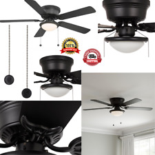 52 In. LED Indoor Black Ceiling Fan With Frosted Fixture Light Kit Flush Mount